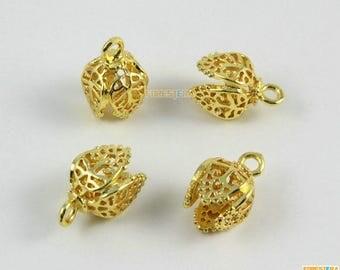 6Pcs Gold Bead Base Setting Flower Charm Pedent 15x10mm (HT119)