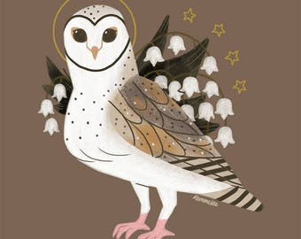Barn Owl Familiar CROSS STITCH PATTERN Original Art by Callupish