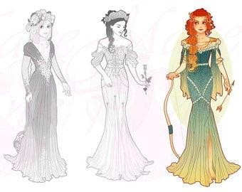 Merida Princess Mucha Style CROSS STITCH PATTERN Original Art by Hannah Alexander