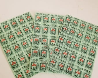 75 green S&H savings trading stamps 3 sheet scrapbook altered art ephemera Vintage paper supplies