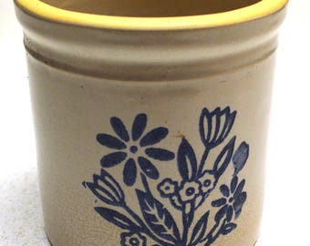 Country Crock with Blue Flowers