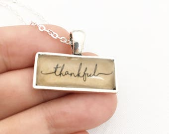 SALE Thankful Necklace. Silver.