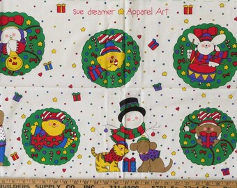 Sue Dreamer Christmas Apparel Art Fabric Panel, Whimsical Bears Animals Wreaths Snowman Santa Christmas Tree Holiday Crafts, Quilt Appliques