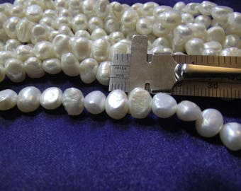 Beautiful 6 mm Fresh Water White Side Drill Pearls 1 strand P lot 005