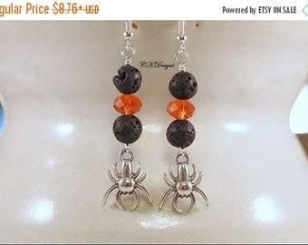 CIJ Halloween Spider Earrings, Spider Charms Earrings, Orange and Black Spider Beaded Dangle Pierce Earrings. Handmade, CKDesigns.US