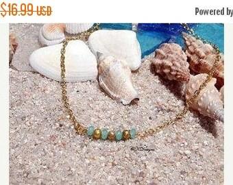 CIJ Gold Ankle Bracelet,  Beaded Ankle Bracelet, Delicate Chain Ankle Bracelet, Beach Jewelry, Gift for Her, OOAK Handmade Anklet, Plus Size