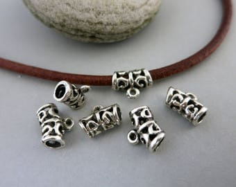 6 Mykonos Pewter Bails, Metal Casting, 12mm Length, 3mm ID,  Lead Free Metal, Made in Greece