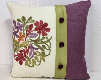 Embroidered pillow PURPLE cushion cover Chartreuse pillow,embroidered flower,white Linen pillow, purple damask,Jane CHURCHILL,bedroom pillow