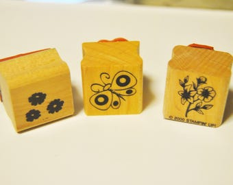butterfly and flowers rubber stamp. used. miniature. small.