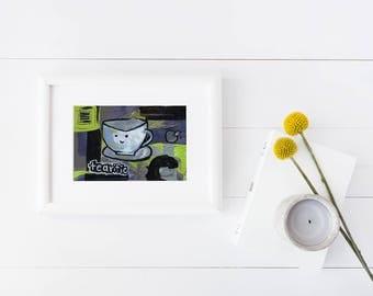 Tearific   humor   tea pun    artwork   pun   tea cup   home decor   kitchen art   funny print  