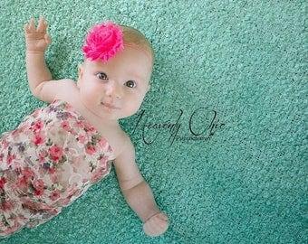 SALE SHOP BEST Seller Frayed Chiffon Hot Pink Flower Skinny Elastic Headband - Photo Prop - Newborn Infant Toddler - Birthday