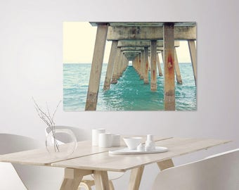 Nautical Decor | Coastal Beach House Decor Photography Print Ocean Pier, Turquoise Sea | Ocean Decor Print | Blue Ocean Art | Seascape Print