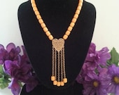 ON SALE Orange Lucite Necklace, Vintage Statement Jewelry, Bib Necklace, 1960's Accessories, Gift For Her, Runway Fringe Necklace