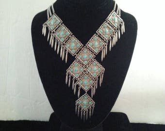 On Sale Vintage Bib Necklace - 1960's 1970's Collectible - Vintage Faux Turquoise Fringe Statement Native American Style Jewelry