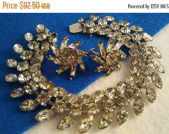 On Sale Stunning High End Rhinestone Bracelet & Earring Set - Black Tie Formal Old Hollywood Glam Art Deco Parure