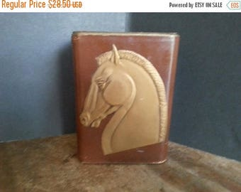 Now On Sale Vintage Bookends Horse Leather Brown Gold Gilt Stallion Design, Art Deco Home Decor, 1930's 1940's