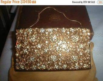 On Sale Evans Compact Purse, Rhinestone Carry-All Clutch Purse, Cigarette Case, New Old Stock, Mid Century Vanity Collectible, Orig Box