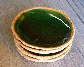 Set of 2, Jade Green - Small Ceramic Dishes | Rustic Bowls Dinnerware | Jewelry Dish | Pottery Bowl
