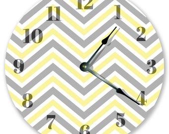 "10.5"" Gray Yellow Chevron - Large 10.5"" Wall Clock - Home Décor Clock - 3372"