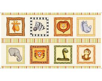 JUNGLE BUDDIES QT cotton fabric panel -lion, tiger, rhino, snake 24 by 42 inch 26411-E