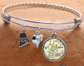 Bristol Rhode Island Map Charm Bracelet State of RI Bangle Cuff Bracelet Vintage Map Jewelry Stainless Steel Bracelet Gifts For Her