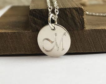 Engraved Initial Necklace - 1 2 3 Letters - Sterling Silver Rose Gold Fill or Gold Fill Available