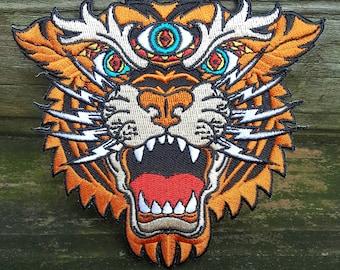 Third Eye Tiger embroidered patch - original artwork - grateful dead phish summer camp music festivals motorcycle biker
