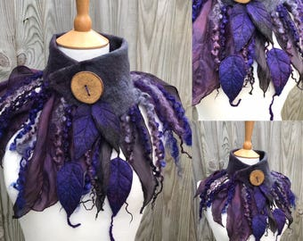 Black and purple cowl-Forest cowl- scarf-Woodland Felted Cowl -felted scarf-colourful scarf --woodland scarf- bohoscarf- black scarf- goth