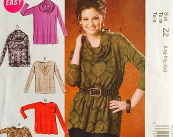 McCall's M7020, Size Large, X Large, XX Large, Misses' Tops and Tunics Pattern, UNCUT, Pullover, Loose Fitting, Casual, Cowl Neckline