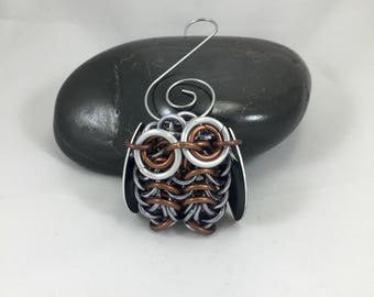 Owl Ornament, Chainmaille Owl Decoration, Bird Ornament, Owl Lover Gift, Owl Gift Ideas, Metal Ornament, Christmas Ornament, Brown Owl Decor