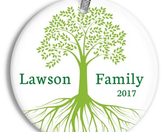 Personalized Family Tree Christmas Ornament - Personalized Porcelain Ceramic Holiday Ornament - orn0029 - Peachwik - Custom Name and Colors