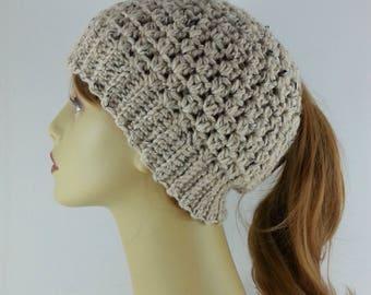 Ponytail Hat Alpaca Merino Wool Blend Oatmeal Ponytail Hat Womens Ponytail Hats Crochet Ponytail Hat Womans Ponytail Messy Bun Free Shipping