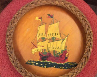 Vintage Mid Century Wooden Tray Pirate Ship
