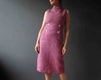 60s Lilac Pink Berry Tweed Flecked Wool Winter Shift Dress Small