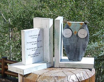 Wise Old Owl Bookends Beachy Weathered  Wood Farmhouse Rusty Patina