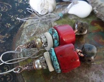 Random bits earrings III-Coral, Ceramics, Vintage Pearls, Rhinestones, Copper Caps, Love