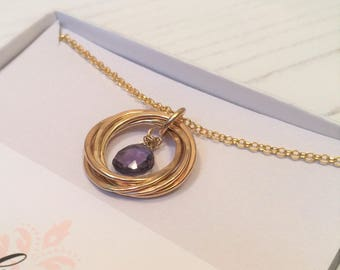 Amethyst Necklace, February Birthstone, Gold Rings Necklace, 60th birthday, 70th birthday, Amethyst Gemstone, Gold Necklace