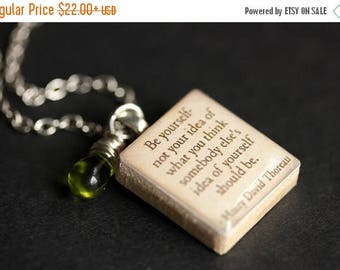 SUMMER SALE Be Yourself Necklace. David Thoreau Quote Necklace. Scrabble Tile Necklace with Glass Teardrop. Scrabble Pendant. Scrabble Neckl
