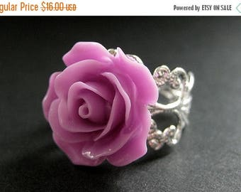 SUMMER SALE Lilac Purple Rose Ring. Purple Flower Ring. Filigree Ring. Adjustable Ring. Flower Jewelry. Handmade Jewelry.