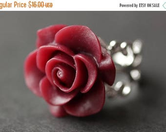 BACK to SCHOOL SALE Maroon Rose Ring. Dark Red Flower Ring. Gold Ring. Silver Ring. Bronze Ring. Copper Ring. Adjustable Ring. Handmade Jewe
