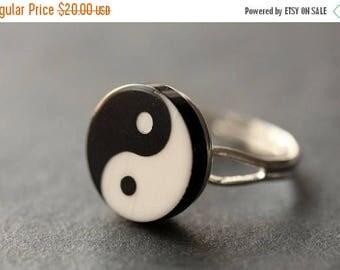 BACK to SCHOOL SALE Yin Yang Ring. Balance Ring. Yang Yin Ring. Black and White Ring. Taoist Ring. Silver Ring. Button Ring. Adjustable Ring