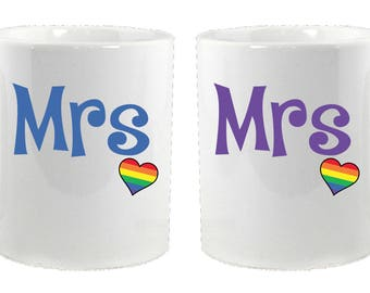 Matching Mrs and Mrs Rainbow Heart Mugs