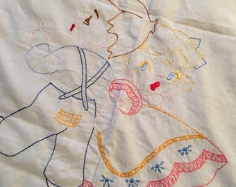 birds and babie embroidered small white table linen dresser scarf vintage