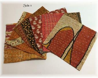 "SIX 6x6"" Kantha Quilt Charm Squares, for Mixed Media, Fiber Arts-Cotton"