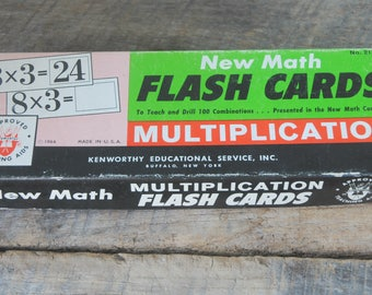 Vintage Multiplication Flash Cards 1964 Kenworthy Educational Buffalo NY