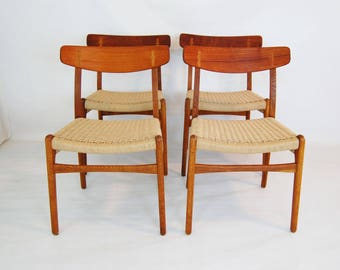 Set of 4 Hans Wegner CH-23 Teak and Oak Dining Chairs with Paper Cord Seats