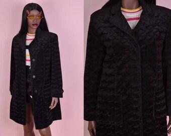 90s Black Fuzzy Coat/ Small/ 1990s/ Faux Fur/ Jacket