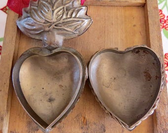 Silver Toned Sacred Heart Ex-Voto  Cachette with Marian Monogram Locket- For your own treasures