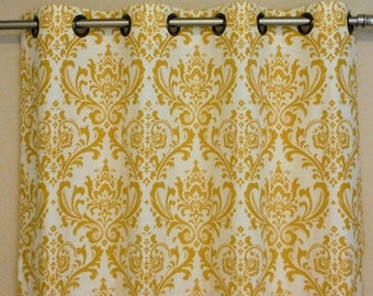 "ON SALE Ready to Ship Yellow and White Damask Traditions - Brushed Steel Grommet Top Curtains 50""W x 84""L"