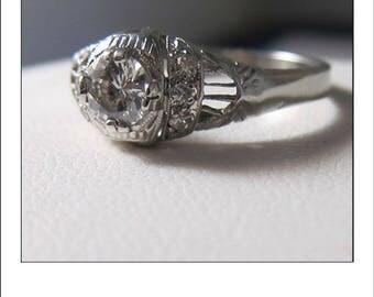 Vintage 18k .52 ct VS Diamond Filigree Ring